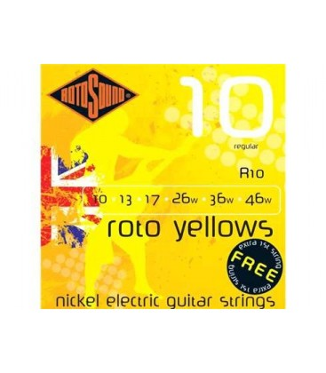 CUERDAS GUITARRA ELECTRICA ROTOSOUND R-10 010-046 SET 6 CUERDAS