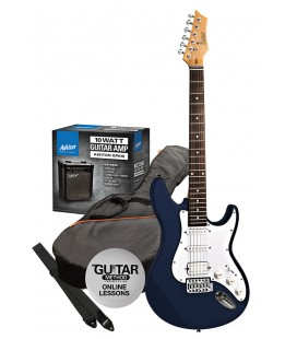 GUITARRA ELECTRICA PACK ASHTON STRATO AZUL