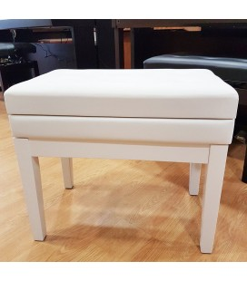 BANQUETA PIANO REGULABLE CON CAJON BLANCO BRILLANTE